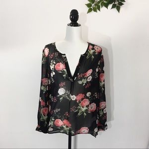 Joie Maurelle Black Silk Rose Floral Top